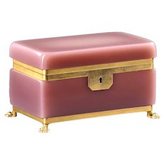 Large Elegant Antique French Pink Opaline Glass Casket Box with Dore Bronze Mounts and Original Key.