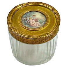 Antique Fine Palais Royal Dore Bronze and Cut Crystal Casket with Exquisite Hand Painted Miniature.