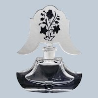 Vintage Bohemian Crystal Perfume Bottle with Fancy Stopper with Black Intaglio Design Depicting Roses