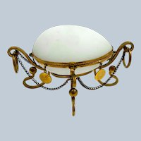 Antique French Palais Royal White Opaline Glass Egg Shaped Box