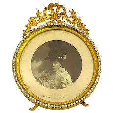 Antique French Empire Dore Bronze Frame with Ormolu Flowering Wreath and Surrounded by Diamante