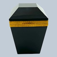 Vintage Black Opaline Glass Casket with Intricate Dore Bronze Mounts and Lift Clasp.