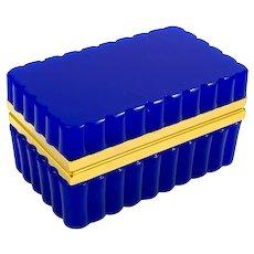 Antique Murano Lapis Blue Opaline Glass Rectangular Casket Box with Pretty Scallop Edge