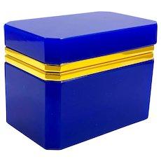 Vintage Murano Lapis Blue Opaline Glass Rectangular Casket Box