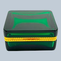 Antique Square Green Glass Casket Box with Fancy Dore Bronze Mounts and Lift Clasp.