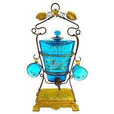 Antique MOSER Enamelled Cordial Decanter Set with Dore Bronze Spigot tap