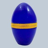 Antique Lapis Blue Opaline Glass Egg Casket Box with Fancy Dore Bronze Mounts.
