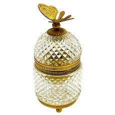 Antique BACCARAT Pineapple Diamond Cut Crystal Casket with Dore Bronze Mounts and Butterfly Finial.