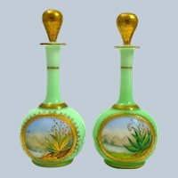 Pair of Antique French Mint Green Opaline Glass Perfume Bottles and Stoppers.