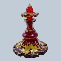 Antique Bohemian Deep Ruby Red Glass Gold Enamelled Perfume Bottle and Plate.