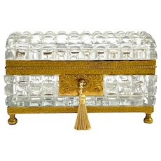 Super Antique BACCARAT Charles X Rectangular Highly Cut Crystal Casket with Domed Lid.