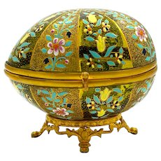 Antique Moser Crystal and Enameled Egg Shaped Box with Dore Bronze Mounts.