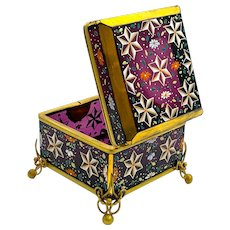 Antique Moser Amethyst Glass Casket Box with Star Design