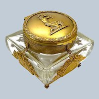 High Quality Antique Baccarat Crystal and Dore Bronze Casket, Signed.