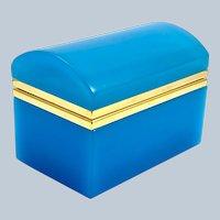 Vintage Blue Opaline Glass Rectangular Casket Box with Domed Lid