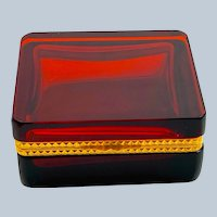 Antique Square Ruby Red Glass Casket Box with Fancy Dore Bronze Mounts