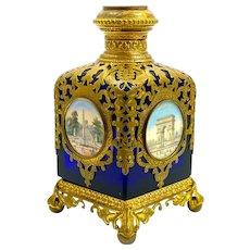 Large Antique Palais Royal Cobalt Blue Glass Perfume Bottle with 5 Miniatures.