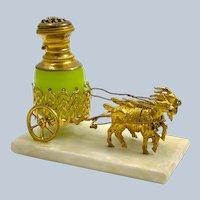 Antique Palais Royal Dore Bronze Carriage with Original Green Opaline Glass Perfume Bottle.