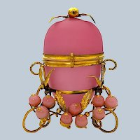 Antique French Palais Royal Pink Opaline Glass Egg with Pink Opaline Baubles.