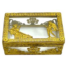 Antique French Empire Cut Crystal and Dore Bronze Casket Box Depicting Classical Figures.