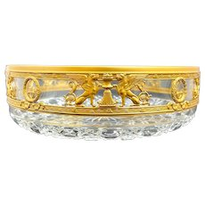 Antique Napoleon III Dore Bronze and Crystal Cut Bowl Richly Decorated with Classical Features.