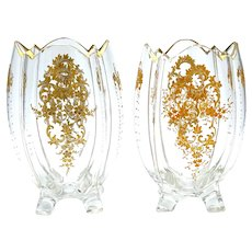 Pair of Antique MOSER Clear Glass Vases with Four Feet.