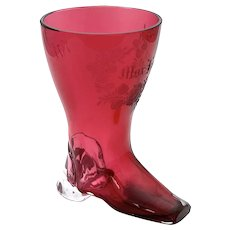 Antique Whimsical Cranberry Glass Boot Drinking Vessel Marked 1871