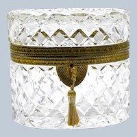 Antique BACCARAT  Diamond Cut Crystal Casket with Fine Dore Bronze Mounts.
