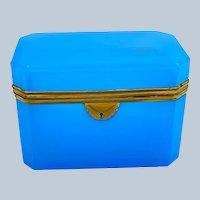 Large Antique Rectangular Blue Opaline Glass Casket Box with smooth Dore Bronze Mounts.