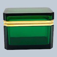 Vintage Murano Green Rectangular Glass Casket Box with Smooth Dore Bronze Mounts.