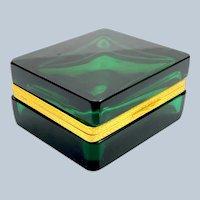 Antique Square Emerald Green Glass Casket Box with Fancy Dore Bronze Mounts