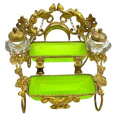 Antique Palais Royal French Green Opaline Glass Double Inkwell.