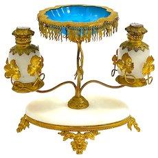 A Fine Antique Palais Royal Opaline Glass Perfume Set