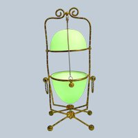 Very Large Antique Palais Royal Green Opaline Glass Egg Box with Fine Dore Bronze Mounts.