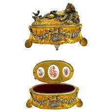 Antique French Dore Bronze Jewellery Casket