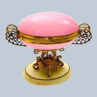 Antique Palais Royal Pink Opaline Glass Egg Casket with Fabulous Dore Bronze Mounts.