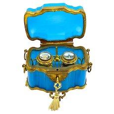 Antique French Blue Opaline Glass Perfume Casket with Fine Fancy Dore Bronze Mounts