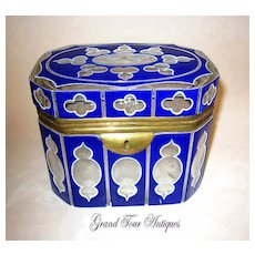 A Stunning Bohemian 19th Century Blue, White and Clear Overlay Box.
