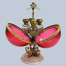 A Stunning Large Antique Palais Royal Cranberry Crystal Glass Perfume Casket.