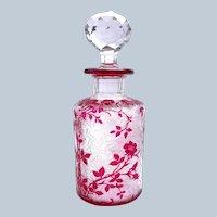 Very Large Antique BACCARAT Eglantier Pattern Cranberry Acid Etched Perfume Bottle.
