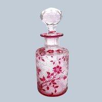 Antique BACCARAT Eglantier Pattern Cranberry Acid Etched Perfume Bottle.