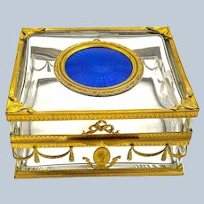 High Quality Antique French Blue Guillouche Enamel and Dore Bronze Box.