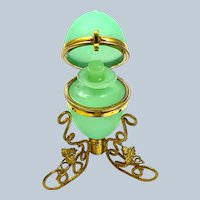 Antique French Palais Royal Opaline Glass Egg Shaped Perfume Casket Box