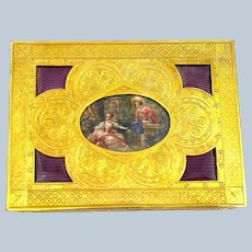 High Quality French Purple Guillouche Enamel and Gilded Bronze Jewellery Box with Signed Miniature