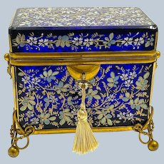 Large Antique MOSER Cobalt Blue Glass Casket Box Decorated with Enamelled Flowers.
