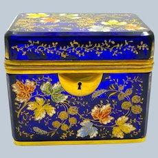 Antique MOSER Cobalt Blue Glass Casket Box Decorated with Polychrome Enamelled Oak Leaves
