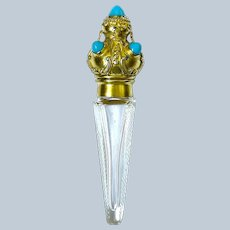 Antique Cut Crystal Perfume Bottle with Crown Top & Turquoise Cabouchons.