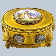 Fabulous Antique FrenchPorcelain Mounted Dore Bronze Casket Box