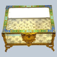 Large Antique French Dore Bronze Jewellery Casket Box Decorated with Champlevé Enamelling on the Lid.