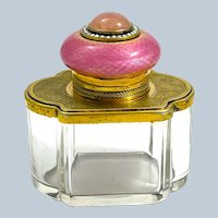 A Unique High Quality Antique French Pink Guilloche Enamel, Crystal and Vermeil Perfume Bottle.